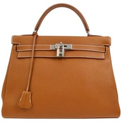 Hermes Kelly 32 Cognac Togo Leather Top Handle Satchel Shoulder Tote Bag