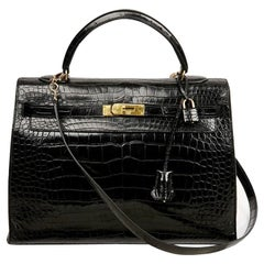 Hermes Kelly 35 Crocodile Black Bag