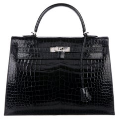 Hermes Kelly 35 Crocodile Exotic Leather Palladium Top Handle Satchel Flap Bag