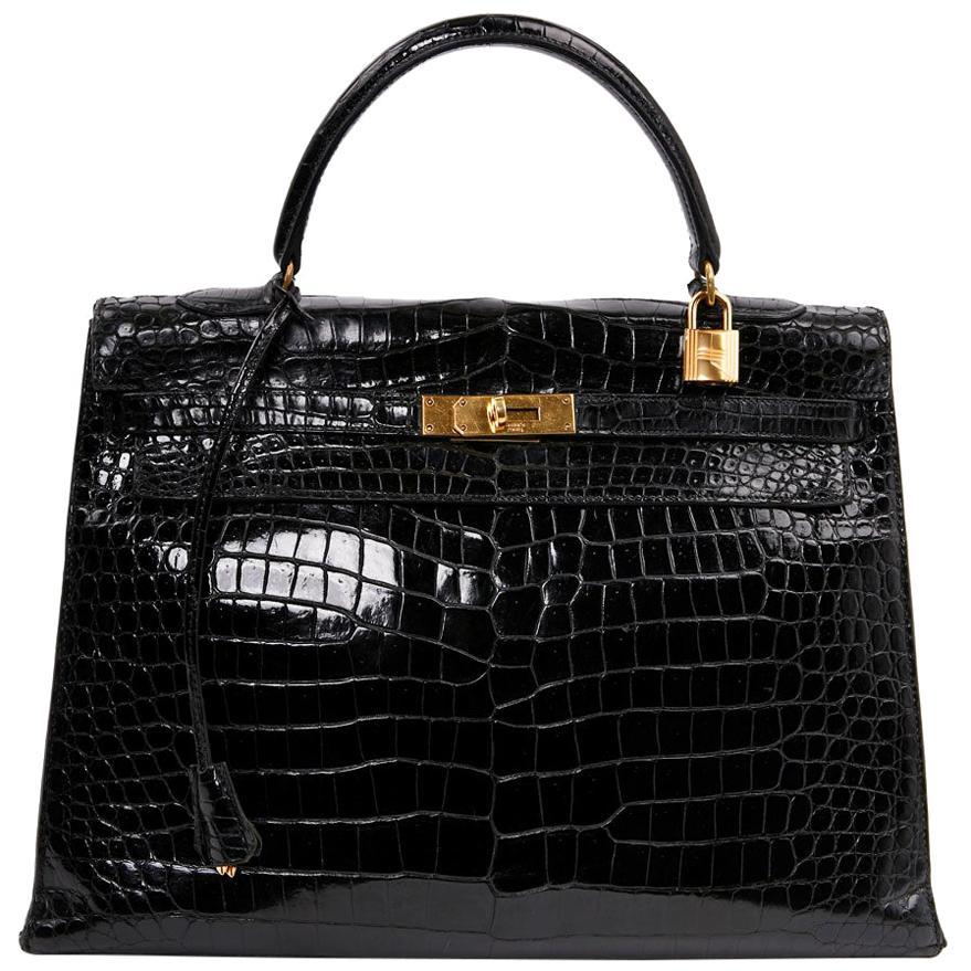 HERMES Kelly 35 Crocodile Shiny Black Bag