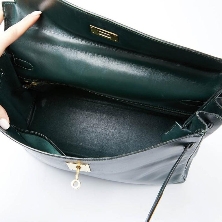 HERMES Kelly 35 Green Box Leather For Sale 9