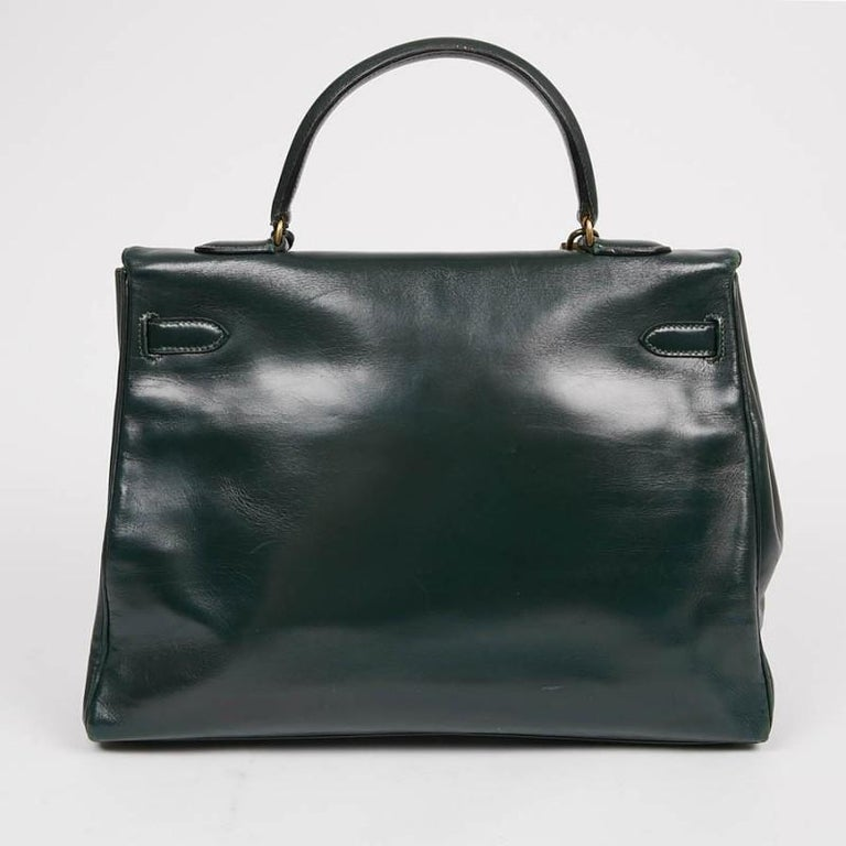Black HERMES Kelly 35 Green Box Leather For Sale