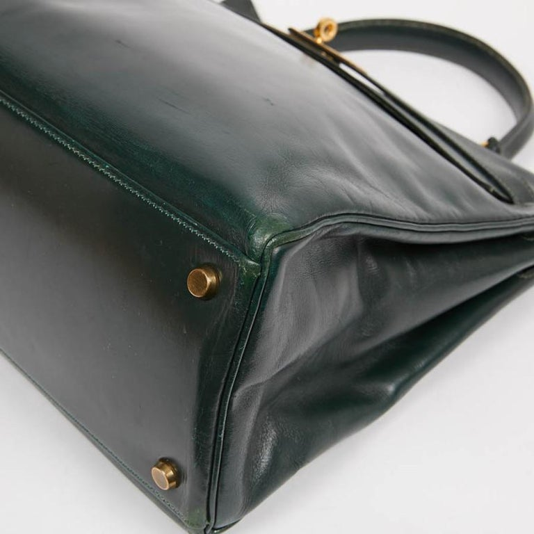 HERMES Kelly 35 Green Box Leather For Sale 1