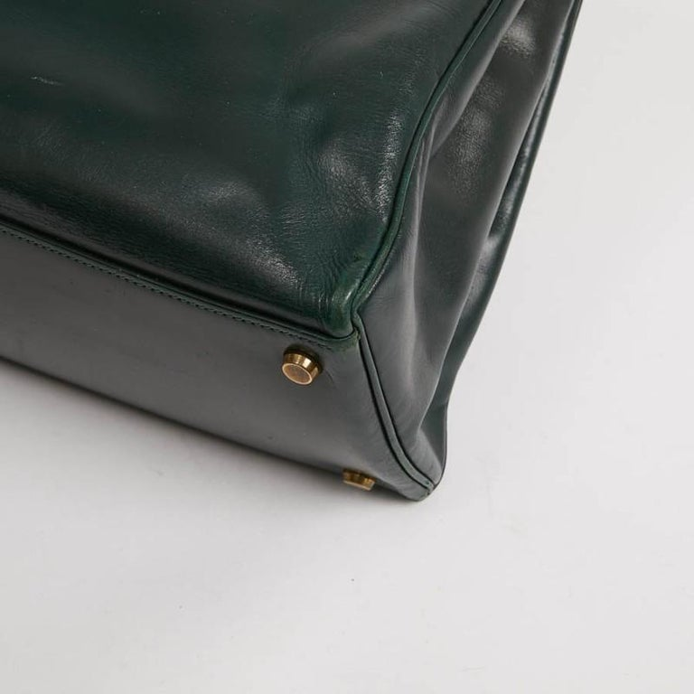 HERMES Kelly 35 Green Box Leather For Sale 2