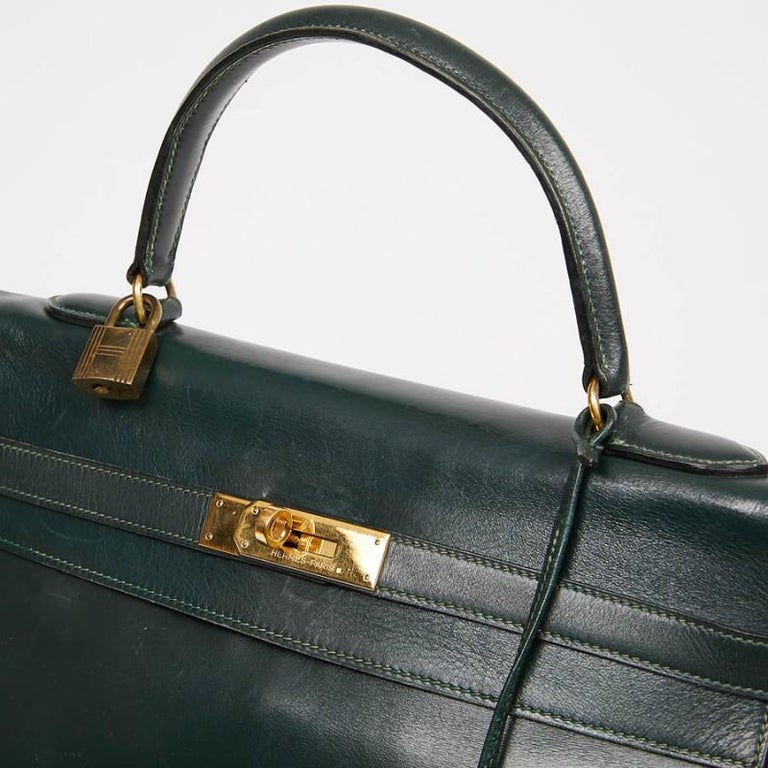 HERMES Kelly 35 Green Box Leather For Sale 3