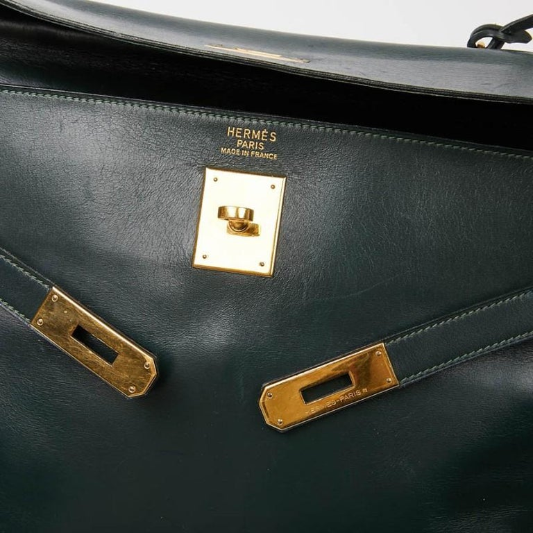 HERMES Kelly 35 Green Box Leather For Sale 4