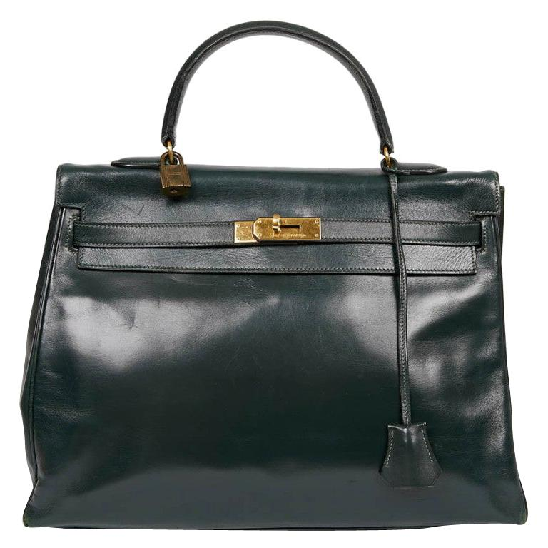 HERMES Kelly 35 Green Box Leather For Sale