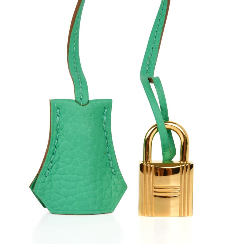Guaranteed authentic Hermes Kelly 35 bag features fresh Menthe.   This retired colour is a burst of fresh air for summer. Lush with Gold hardware.  Supple in Clemence which is scratch resistant and butter soft.  Comes with sleepers, lock, keys, and