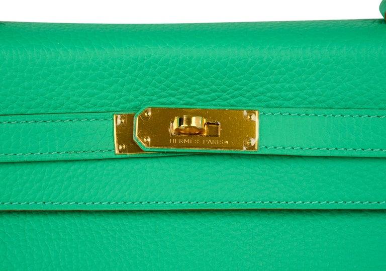 Blue Hermes Kelly 35 Bag Menthe Fresh Green Retourne Gold Hardware   For Sale
