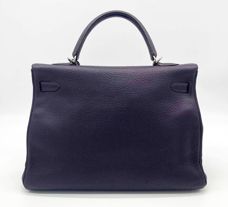 Hermes Kelly 35 Raisin Clemence PDH In Excellent Condition For Sale In Philadelphia, PA