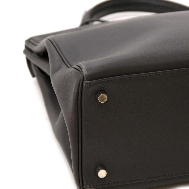 Women's or Men's  Hermes Kelly 35 Retourne Ardoise Swift PHW For Sale