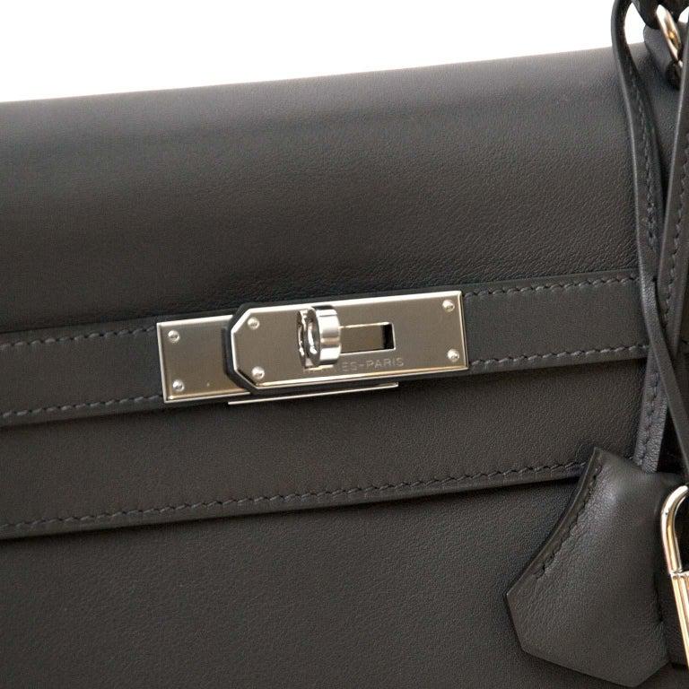 Hermes Kelly 35 Retourne Ardoise Swift PHW For Sale 1