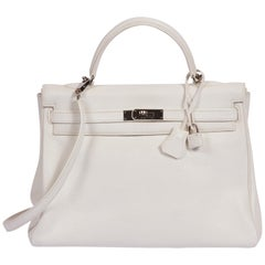 Hermes Kelly 35 Retourne White Palladium