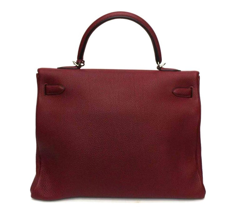 Brown Hermès Kelly 35 Ruby Red Togo Leather  For Sale