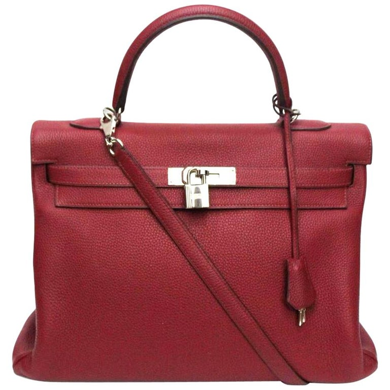 Hermès Kelly 35 Ruby Red Togo Leather  For Sale
