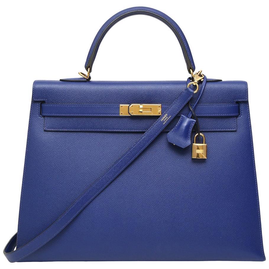Hermès Kelly 35 Sellier blue leather shoulder handbag