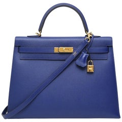 Hermès Kelly 35 Sellier blue leather shoulder handbag
