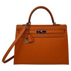 Hermes Kelly 35 Sellier Feu Bag
