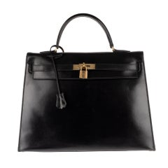 Hermès Kelly 35 sellier handbag in black calfskin leather, golden harware !