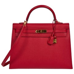 Hermes Kelly 35 Sellier Rouge Casaque