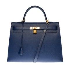 Hermès Kelly 35 sellier strap shoulder bag in epsom blue saphir leather, GHW