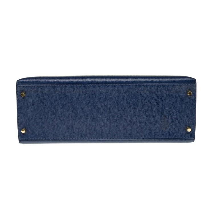 Hermès Kelly 35 sellier strap shoulder bag in epsom blue saphir, PHW For Sale 5