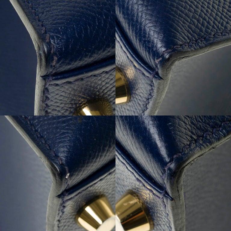 Hermès Kelly 35 sellier strap shoulder bag in epsom blue saphir, PHW For Sale 6
