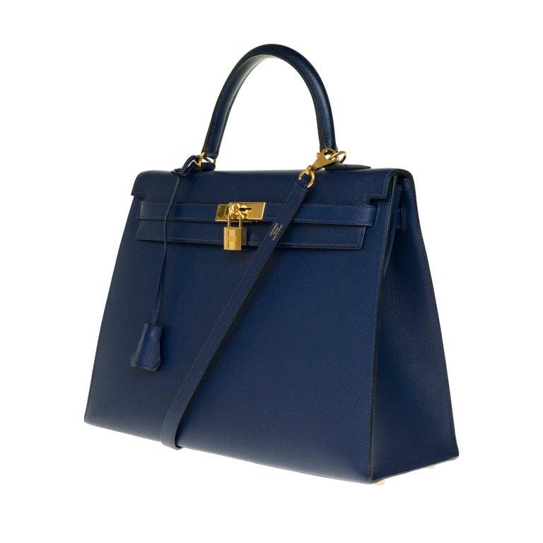 Blue Hermès Kelly 35 sellier strap shoulder bag in epsom blue saphir, PHW For Sale