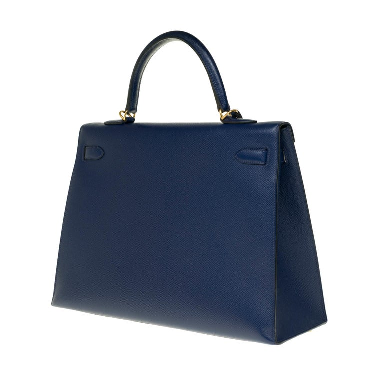 Hermès Kelly 35 sellier strap shoulder bag in epsom blue saphir, PHW In Good Condition For Sale In Paris, Paris