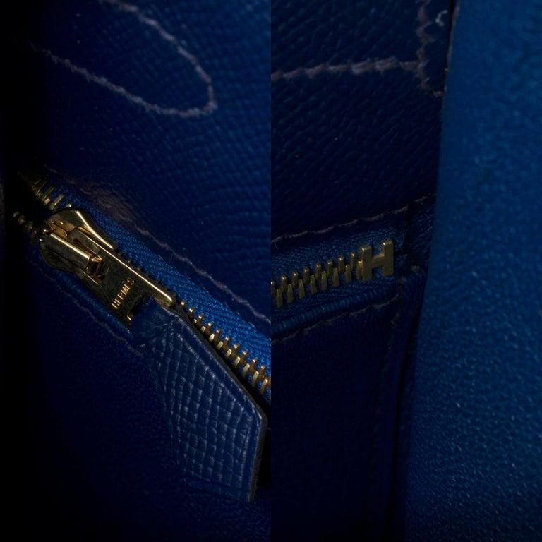 Hermès Kelly 35 sellier strap shoulder bag in epsom blue saphir, PHW For Sale 2