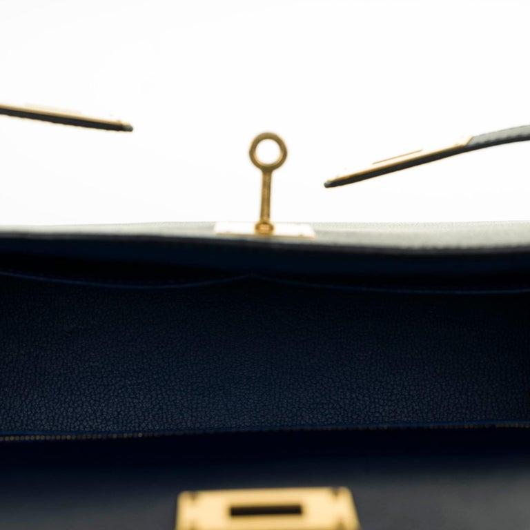 Hermès Kelly 35 sellier strap shoulder bag in epsom blue saphir, PHW For Sale 3