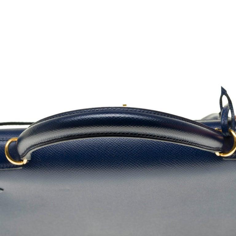 Hermès Kelly 35 sellier strap shoulder bag in epsom blue saphir, PHW For Sale 4