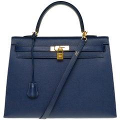 Hermès Kelly 35 sellier strap shoulder bag in epsom blue saphir, PHW