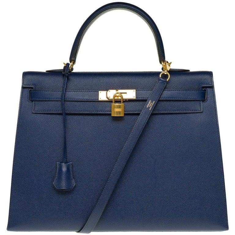 Hermès Kelly 35 sellier strap shoulder bag in epsom blue saphir, PHW For Sale