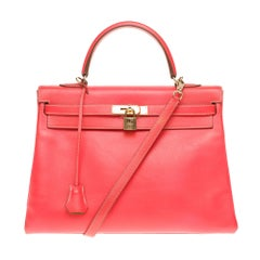 "Hermès Kelly 35 strap  ""Candy"" limited edition bicolor epsom Pink/Gold , GHW"