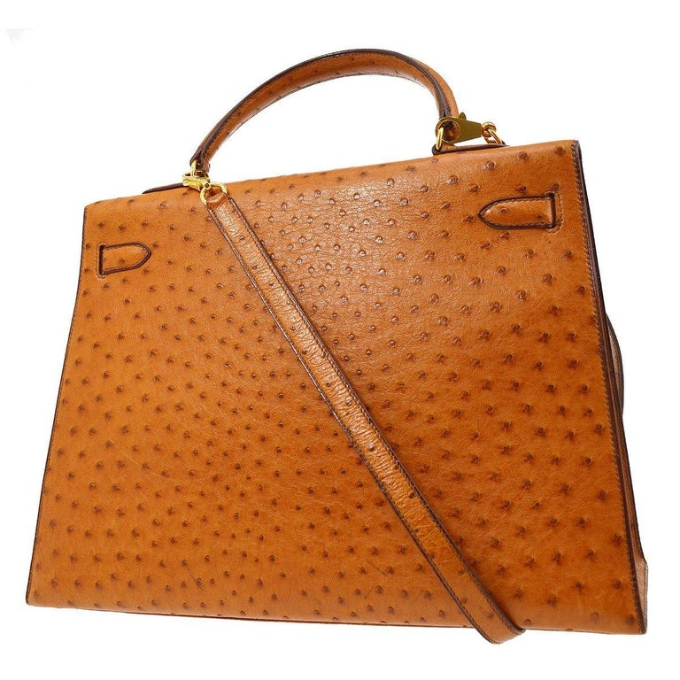 Hermes Kelly 35 Tan Brown Camel Ostrich Exotic Gold Top Handle Satchel Flap Bag In Good Condition For Sale In Chicago, IL