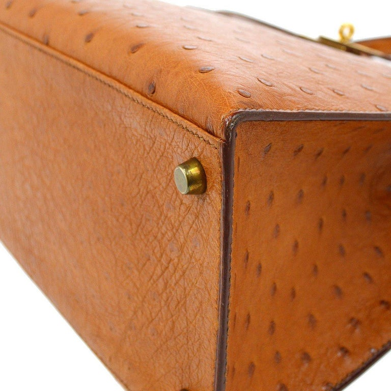 Women's Hermes Kelly 35 Tan Brown Camel Ostrich Exotic Gold Top Handle Satchel Flap Bag For Sale