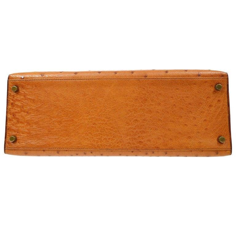 Hermes Kelly 35 Tan Brown Camel Ostrich Exotic Gold Top Handle Satchel Flap Bag For Sale 1