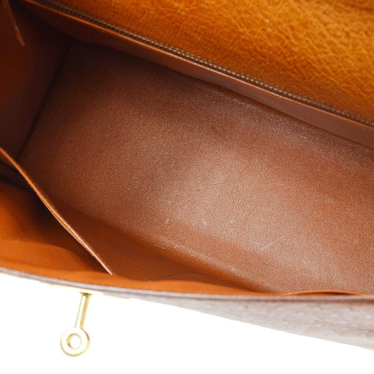 Hermes Kelly 35 Tan Brown Camel Ostrich Exotic Gold Top Handle Satchel Flap Bag For Sale 2
