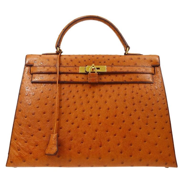 Hermes Kelly 35 Tan Brown Camel Ostrich Exotic Gold Top Handle Satchel Flap Bag For Sale