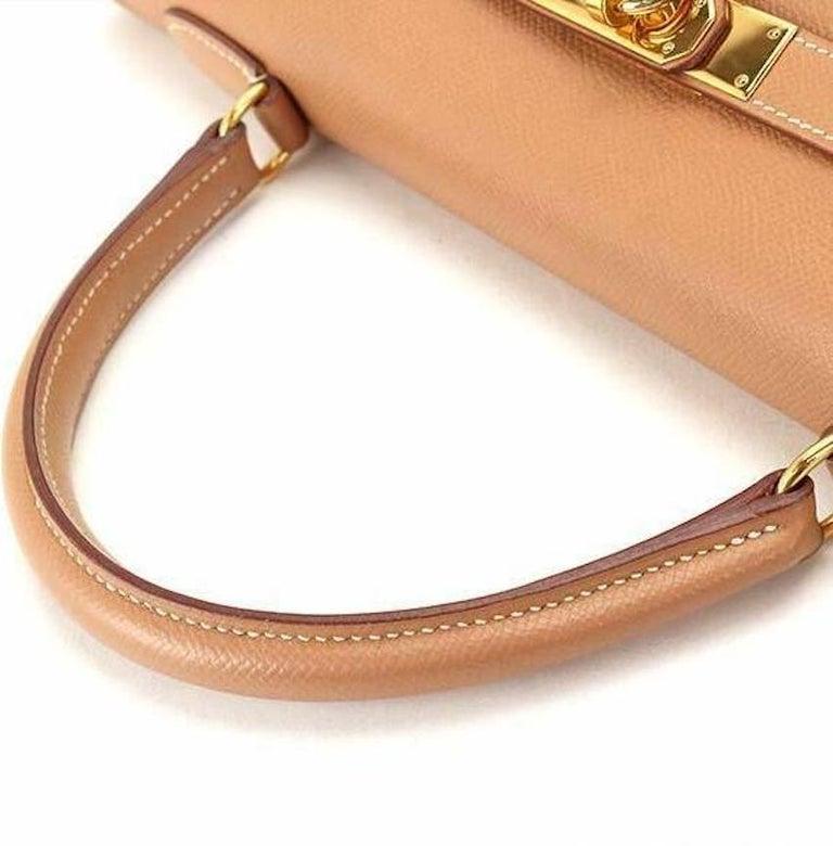 Orange Hermes Kelly 35 Tan Leather Top Handle Satchel Shoulder Tote Bag  For Sale