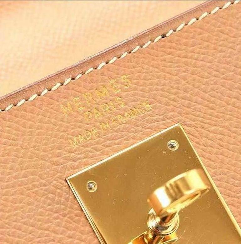 Women's Hermes Kelly 35 Tan Leather Top Handle Satchel Shoulder Tote Bag  For Sale