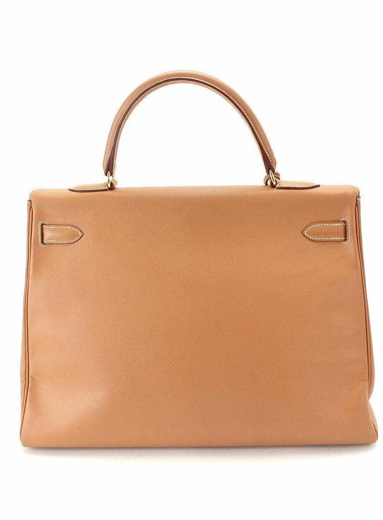Hermes Kelly 35 Tan Leather Top Handle Satchel Shoulder Tote Bag  For Sale 1