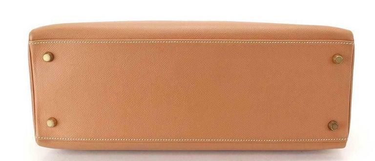 Hermes Kelly 35 Tan Leather Top Handle Satchel Shoulder Tote Bag  For Sale 2