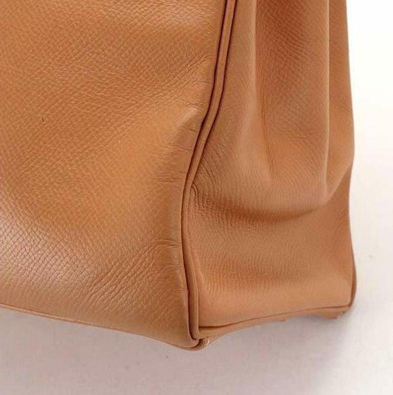 Hermes Kelly 35 Tan Leather Top Handle Satchel Shoulder Tote Bag  For Sale 3