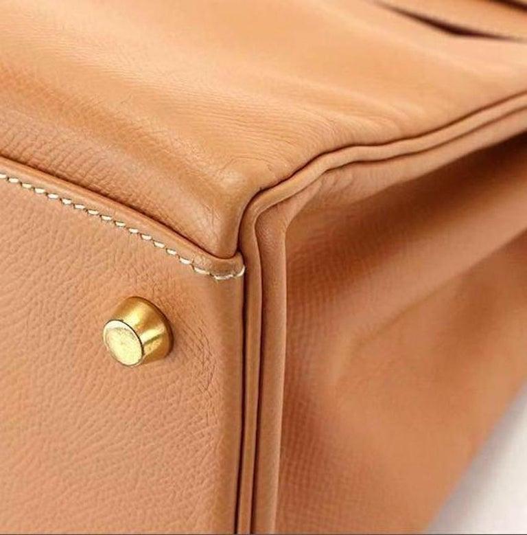 Hermes Kelly 35 Tan Leather Top Handle Satchel Shoulder Tote Bag  For Sale 4