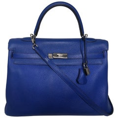 Hermes Kelly 35cm Blue Taurillon Clemence Palladium Hardware Q stamp