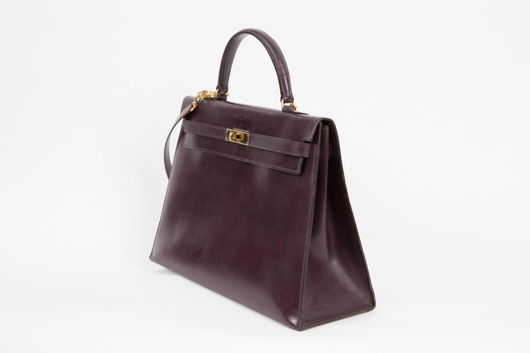 Black Hermes Kelly 35cm Cherry Boxcalf     For Sale