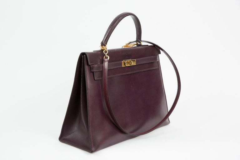 Hermes Kelly 35cm Cherry Boxcalf     For Sale 1