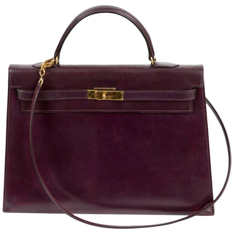 Hermes Kelly 35cm Cherry Boxcalf     For Sale